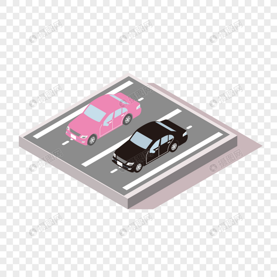 2.5D停车场矢量图图片