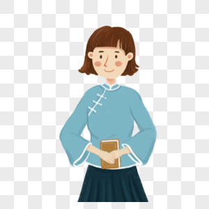 拿着书的女孩图片