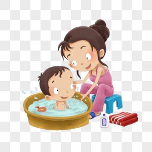 给孩子洗澡的妈妈图片