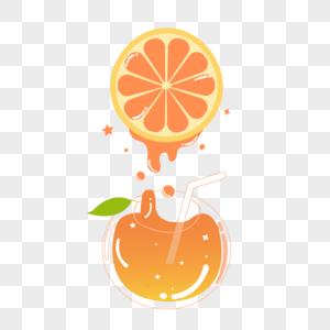 手绘趣味橙汁图片