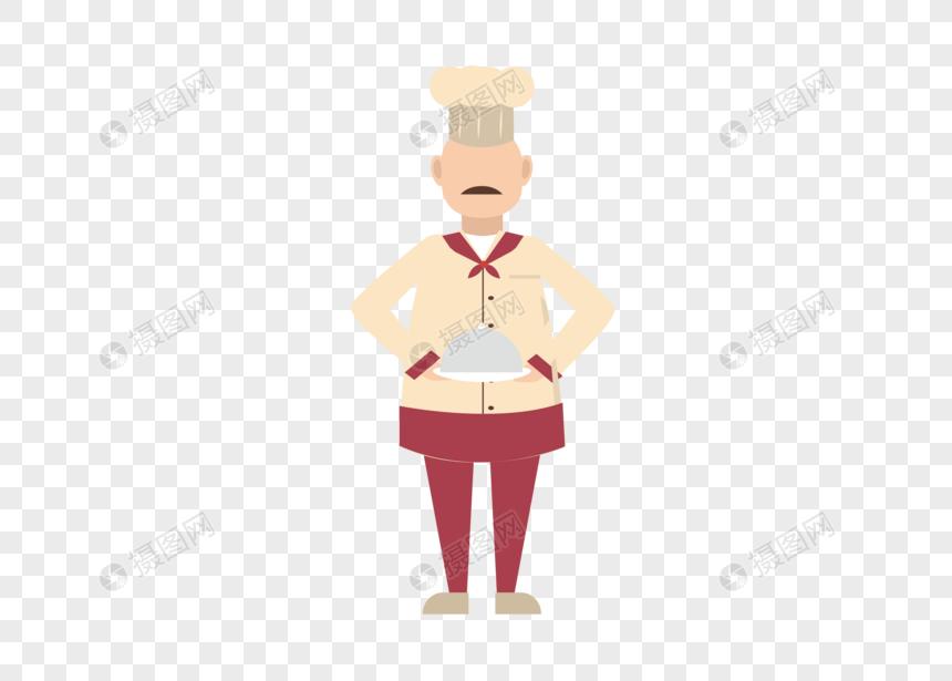 AI矢量图平面化人物男性厨师图片