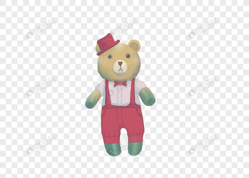 手绘男洋装熊公仔图片
