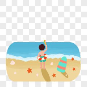 夏天海边吃冰淇淋的小男孩图片