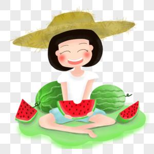 手绘卡通草帽女孩吃西瓜夏日主题素材图片
