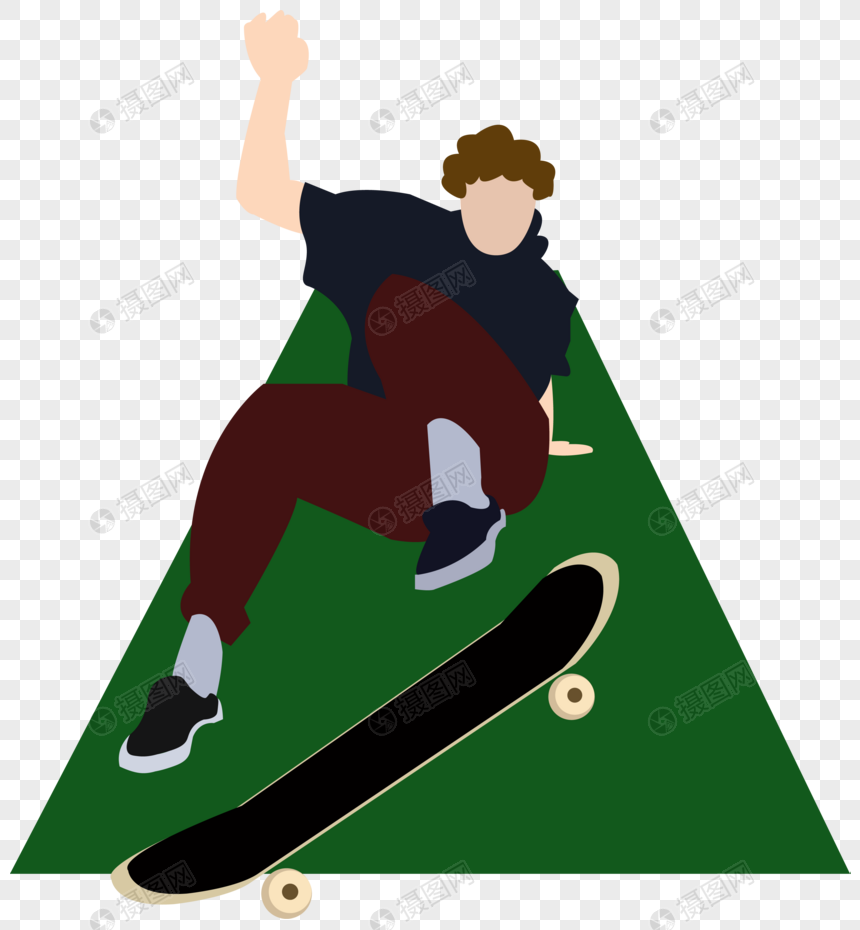 男子滑板绿色背景跳跃极限运动滑板鞋青春元素图片