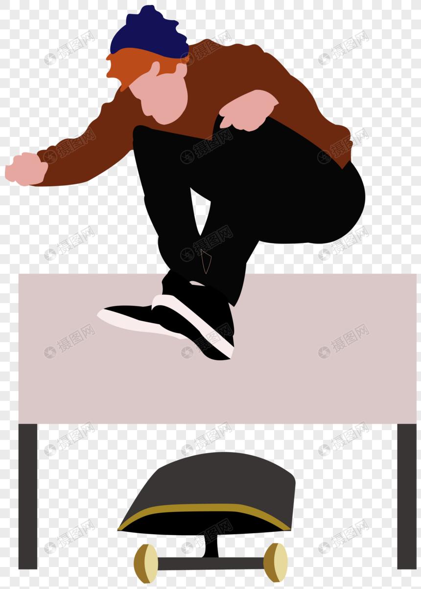 男子玩滑板极限运动青春年轻跳跃元素图片