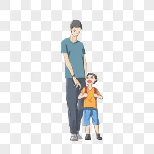 父亲和儿子卡通图片_父与子图片_父与子素材_父与子高清图片_摄图网图片下载