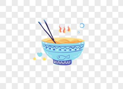可爱卡通手绘面食碗筷儿童节食物图片