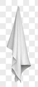 吊起的白色浴室毛巾图片