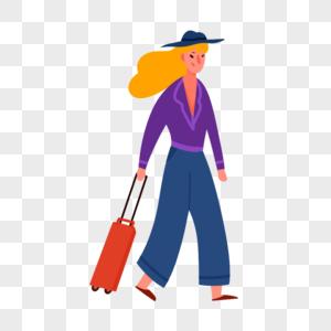 拖行李的女孩图片