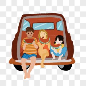 小孩在卡车上吃西瓜夏日元素图片