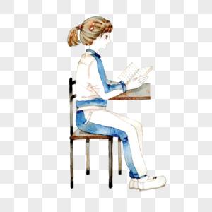 水彩高考读书的学生图片