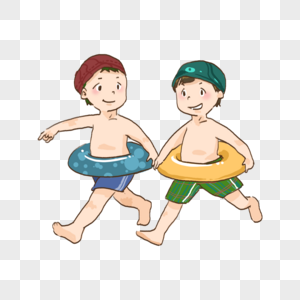 夏日游泳小朋友儿童节炎热清凉海边游泳圈图片