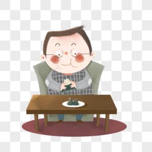 吃粽子图片