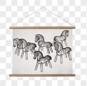 斑马素描挂画图片