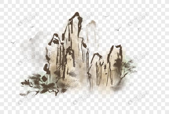 中国风写意水墨山石图片