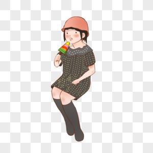 夏天 女孩 戴帽子 插画 卡通 吃冰棍 雪糕 坐着图片