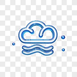 创意蓝色云图标图片