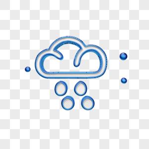 立体蓝色云边框图标图片