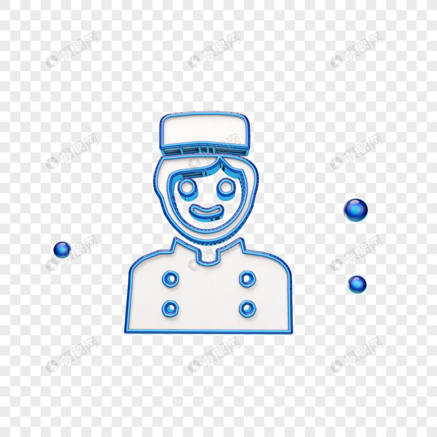 立体蓝色厨师图标图片