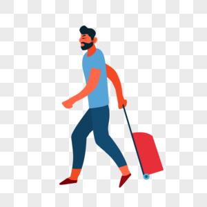 拖行李男人图片