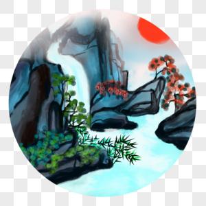 中国风水彩水墨高山瀑布图片