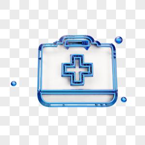 蓝色立体医药箱图标图片