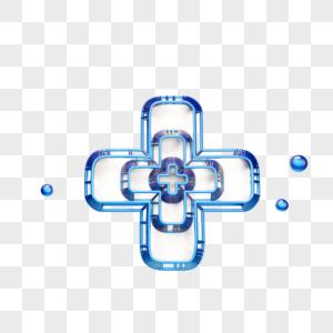 蓝色创意医护十字标志图片