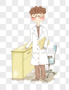 五一劳动节正在工作的医生插画PNG图片
