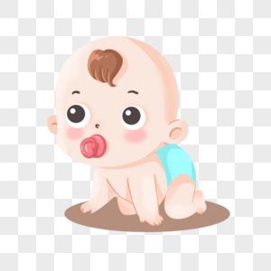 吸着奶嘴在地上爬的可爱小婴儿宝宝图片