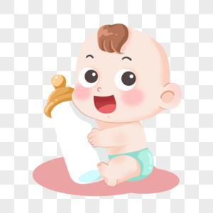 抱着奶瓶的可爱小女孩婴儿宝宝图片