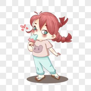 夏天吃西瓜冰棒的小女孩图片