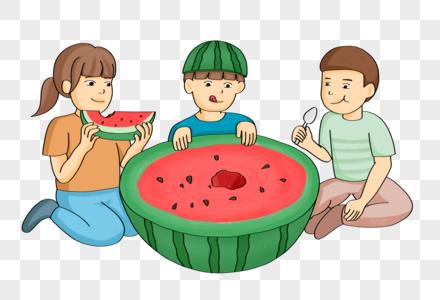 手绘卡通儿童坐着吃西瓜人物形象图片