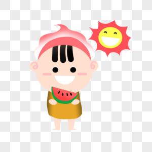 夏天小孩吃西瓜图片