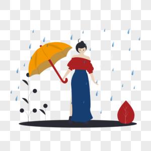下雨打伞图片