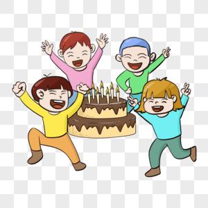 创意手绘六一61儿童节卡通可爱小孩儿童吃蛋糕图片