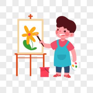 绘画男孩图片