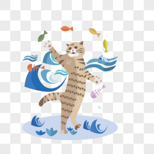 在海里抓鱼的猫咪图片