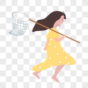 扛着渔网的女孩图片
