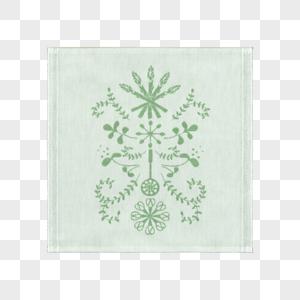 绿色园林图案毛巾2图片
