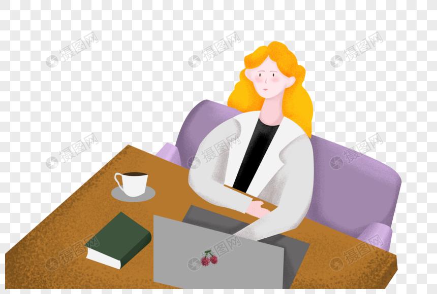 坐着办公的女孩图片