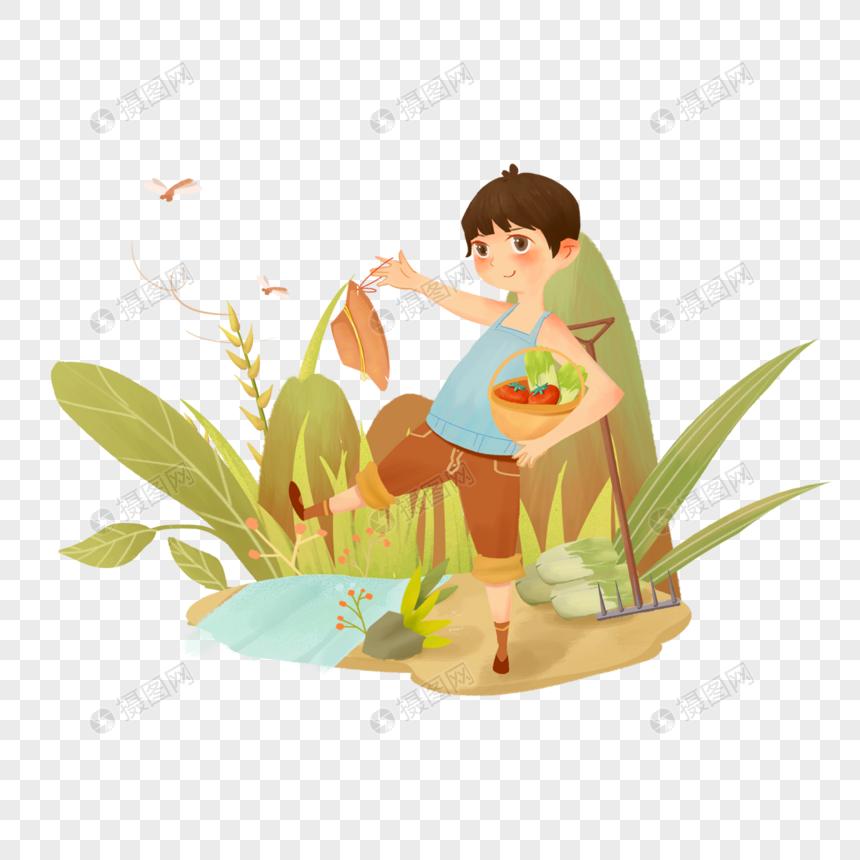劳动节秋季夏季辛勤劳作种田汗水少年小满图片