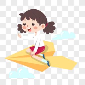 坐着黄色纸飞机的红裙子小女孩图片