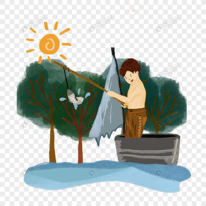 夏日阳光森林树木小孩钓鱼生活场景插画手绘元素图片