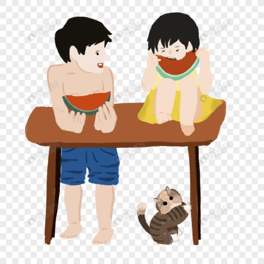 男孩女孩吃西瓜哥哥看着妹妹童年夏日生活场景元素图片