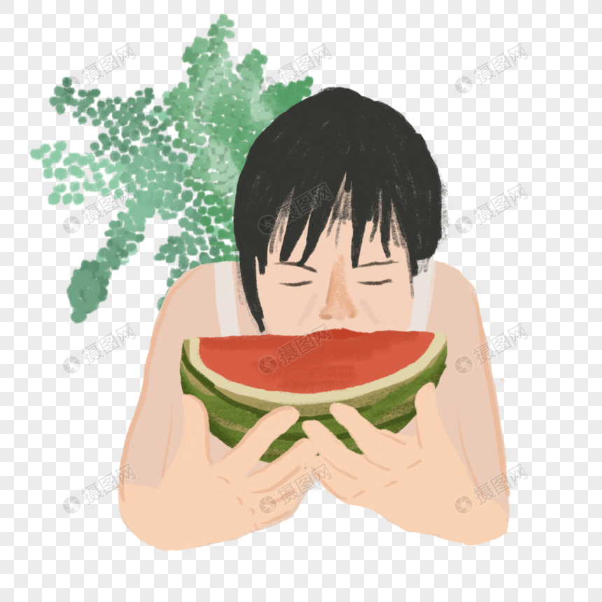 女孩吃西瓜夏日生活场景炎热植物咬下去插画元素图片
