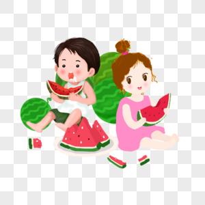 夏天可爱孩子吃西瓜图片