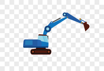 AI矢量图扁平化元素工程车挖掘机图片