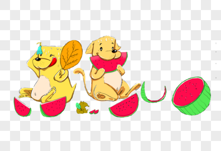 吃西瓜的狗图片