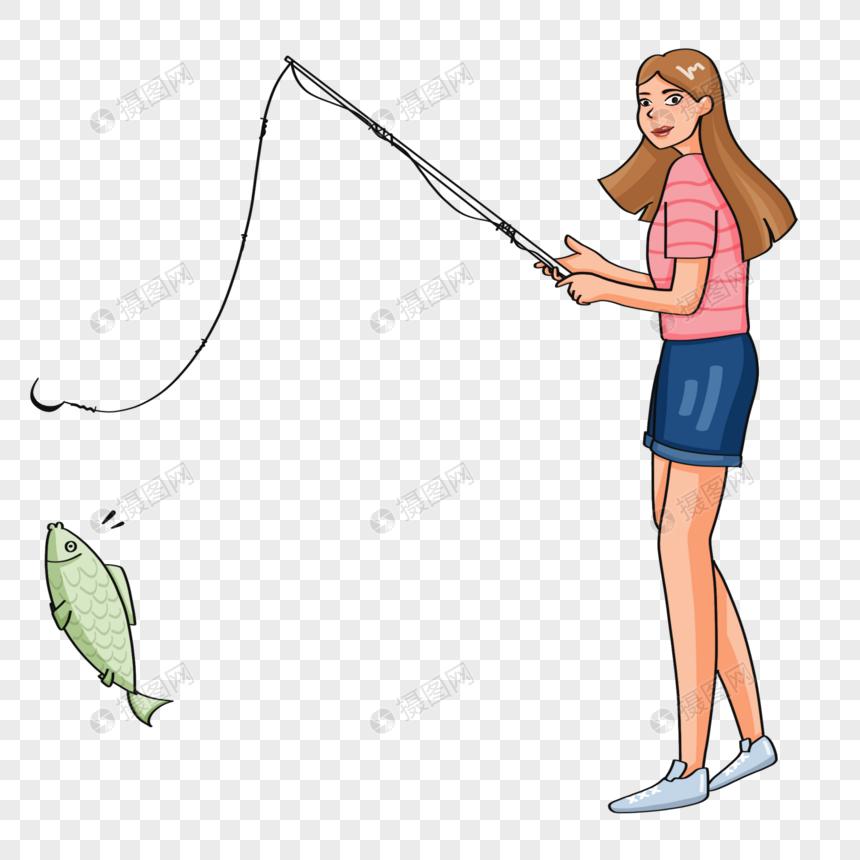 手绘女子钓鱼人物形象图片